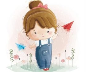 Cute children watercolor drawings vector illustration