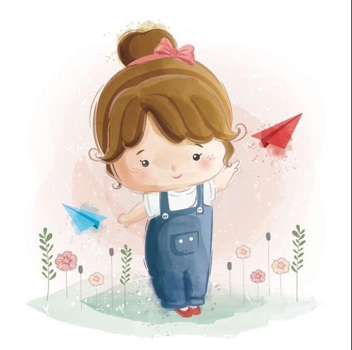 Cute children watercolor drawings vector illustration