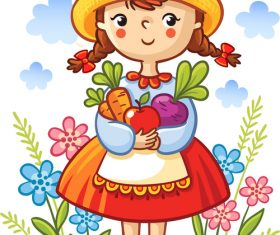 Cute little girl cartoon character illustration vector