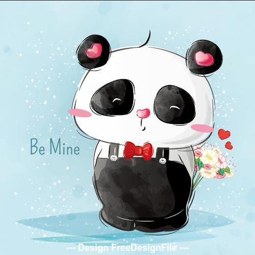 Cute panda watercolor drawings vector illustration