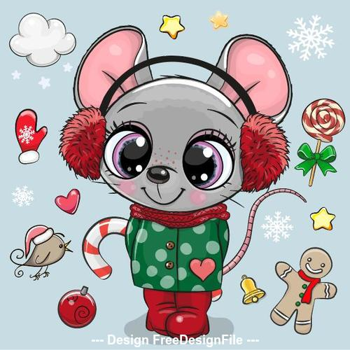 Cute rat cartoon new year background vector