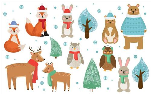 Cute winter and forest animals vector