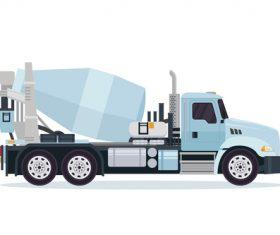 Cyan construction mixer truck cartoon vector