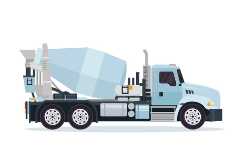 Cyan construction mixer truck cartoon vector