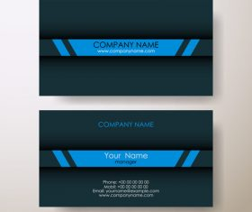 Dark background blue stripes business card design vector