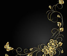 Dark background decorative flower vector