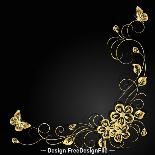 Dark background decorative flower vector
