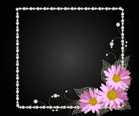 Dark background floral decorative frame vector