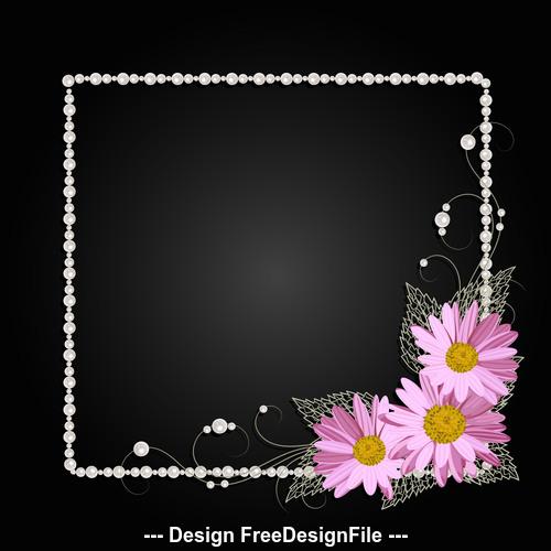 Dark background floral decorative frame vector