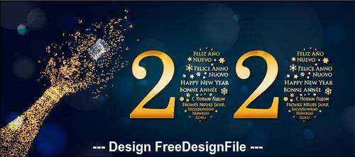 Dark background golden 2020 decorative font New Year greeting card vector