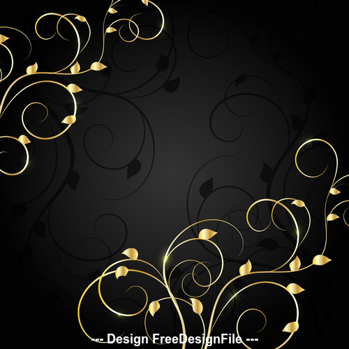 Dark background golden flower branch vector