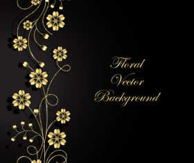 Dark background side decoration flower vector