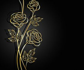 Dark background silhouette golden flower vector