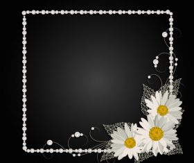 Dark background white border frame vector