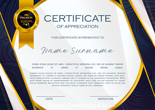 Dark border certificate template vector