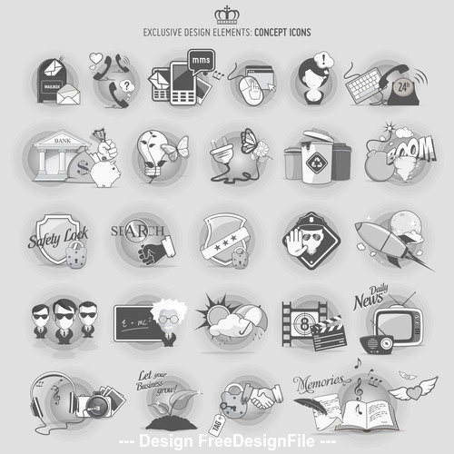 Dark concept icons vector