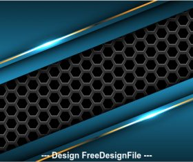 Dark hexagon blue metal background vector