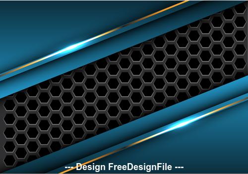 Dark hexagon blue metal background vector