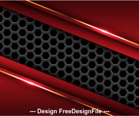 Dark hexagon red metal background vector