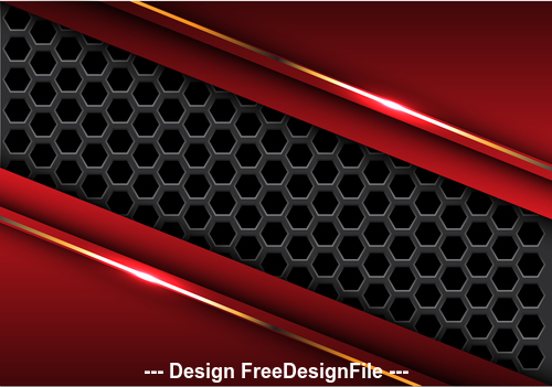 Dark hexagon red metal background vector