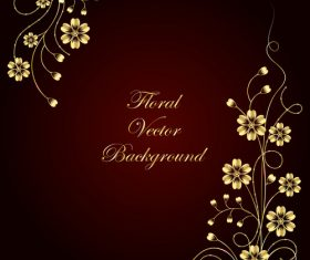 Dark red background decorative flower vector
