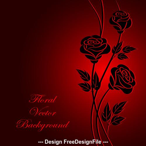Dark red background silhouette flower vector