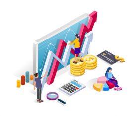 Data analysis cartoon illustration vector