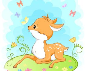 Deer lying on the ground cartoon an illustration design vector