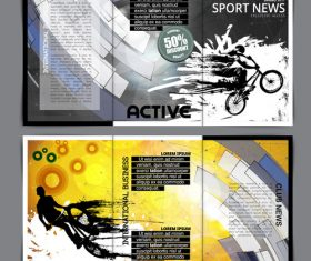 Design sport news template layout vector