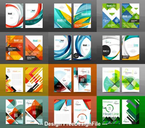 Different color geometry cover template vector