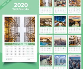 Different countries city background 2020 new year wall calendar vector 01