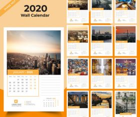 Different countries city background 2020 new year wall calendar vector 02