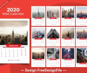 Different countries city background 2020 new year wall calendar vector 03