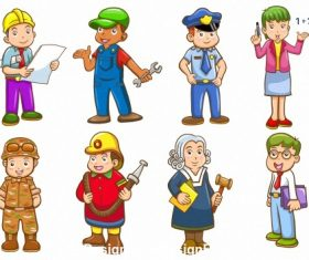 Different professions cartoon vector