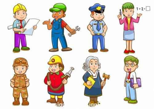 Different professions cartoon vector
