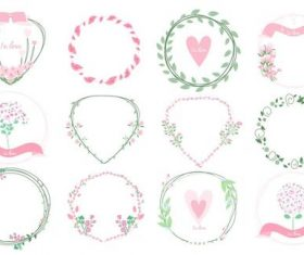Different shapes frames floral wreath vector