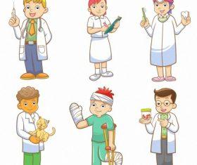 Doctor nurse and patient cartoon vector