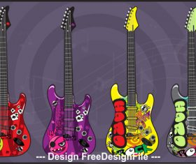 Doodle guitar electric guitars art vector