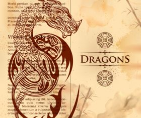 Dragon drawn in old vintage book page vector