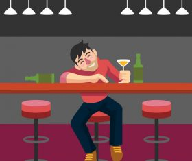 Drunk Man Bar vector