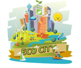 Eco city cartoon illustration vector