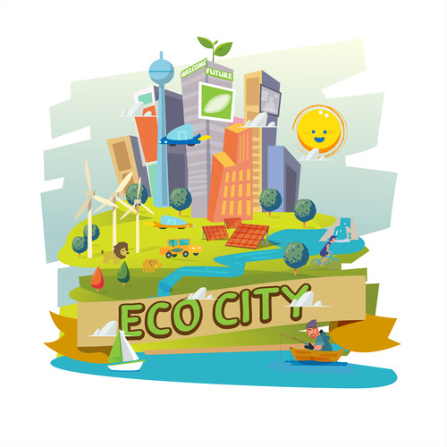 Eco city cartoon illustration vector