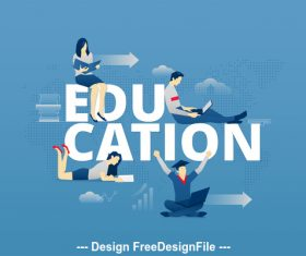 Education typographic poster vector