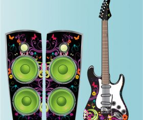 Electric guitars and sound vector