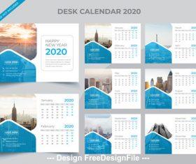 Elegant 2020 new year desk calendar vector