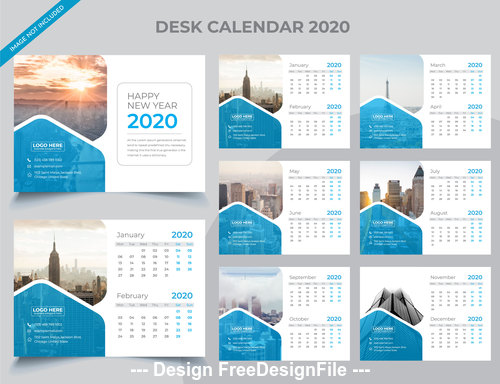 Elegant 2020 new year desk calendar vector