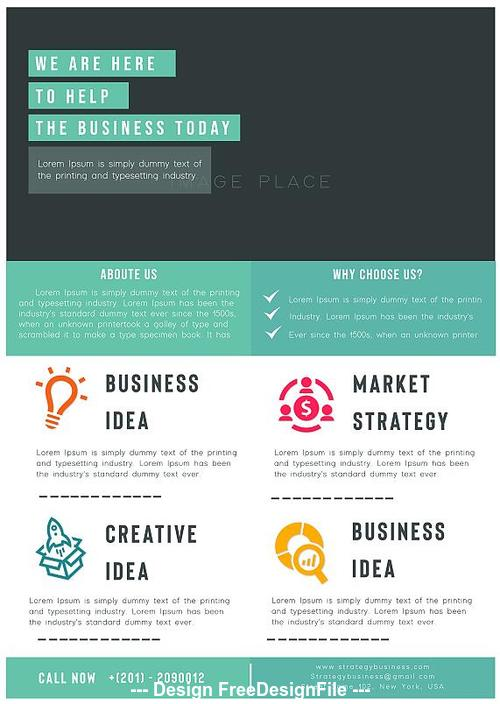 Elements business strategy flyer psd template