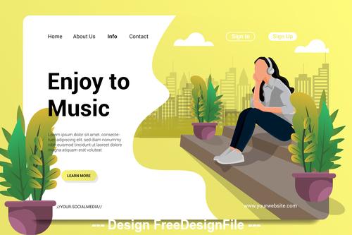 Enjoy to music cartoon illustration vector