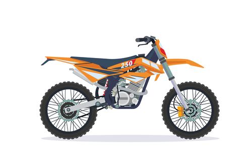 Extreme motorcross bike orange vector