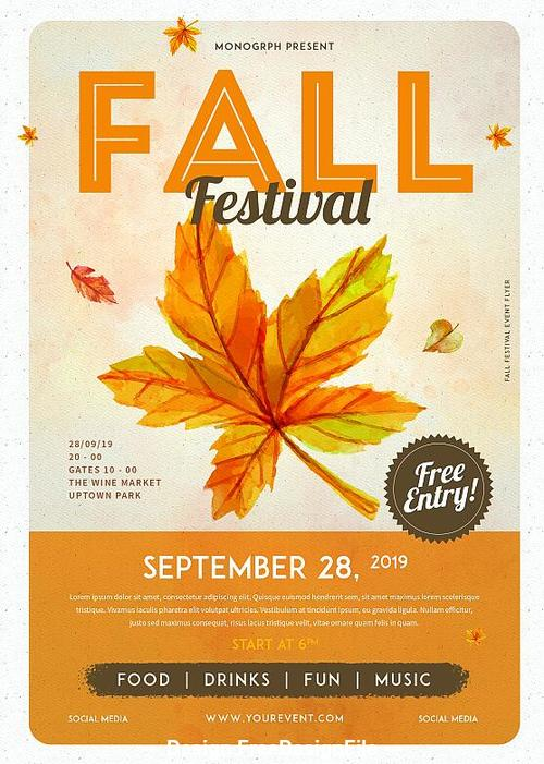 Fall Event Flyer Template from freedesignfile.com
